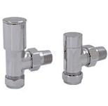 PAIR ANGLED RADIATOR VALVE CHROME