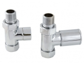 PAIR STRAIGHT RADIATOR VALVE CHROME
