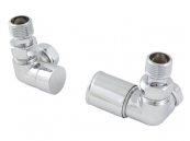 PAIR PROFILE RADIATOR VALVES CHROME
