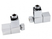 PAIR SQUARE ANGLED RADIATOR VALVES CHROME
